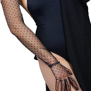 Black Polka Sheer  Long Gloves OS